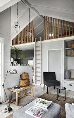 Le Scale in legno possono essere utilizzate anche come soluzione a parete per accedere ad un soppalco