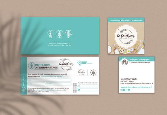 ICI, LE BONHEUR EST FAIT MAISON • Carte de visite / Carton d'invitation - Loire-Atlantique