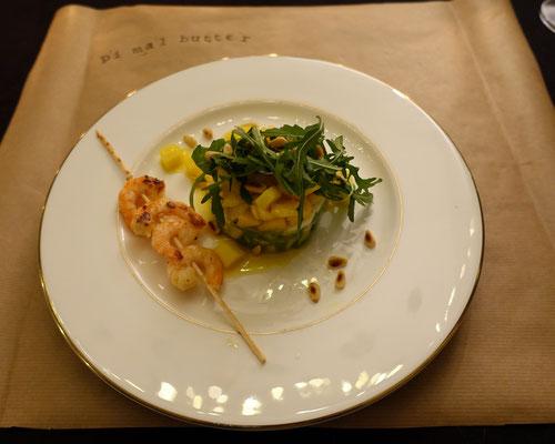 Avocado Mozzarella Mango Türmchen mit Crevetten Mädchenvöllerei Pi mal Butter Food Blog Saarland Kochen Rezepte Cooking Cook