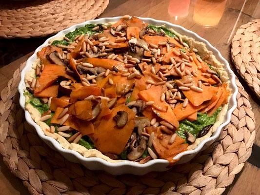 Süßkartoffel Tarte mit Avocado Creme Pi mal Butter Mädchenvöllerei Rezept Kochen Food Blog Saarland