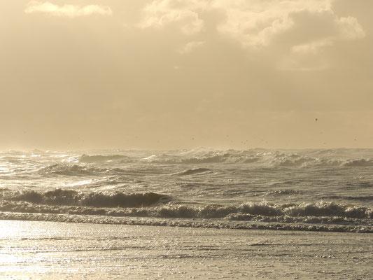 Zee bij onheilspellende lucht.