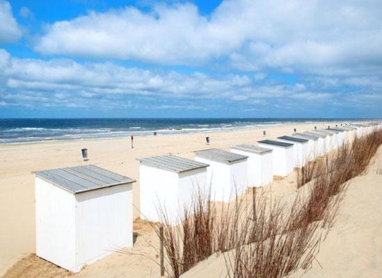Strandhuisjes op het Noordzeestrand.