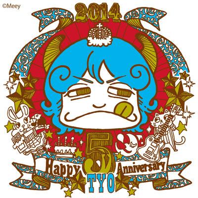 TYO/5周年記念ステッカーイラストOKAHIROバージョン