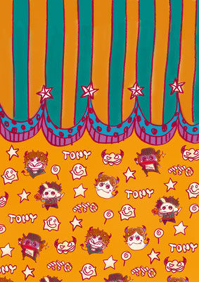 TYO/自作ハロウィンの袋のテキスタイルデザインTONYバージョン