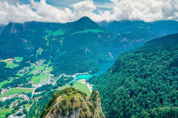 Aussicht auf den Königssee vom Grünstein Gipfel