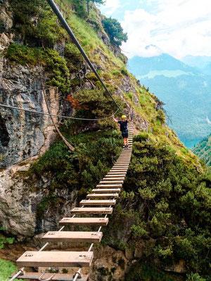 Hängebrücke beim Grünstein Klettersteig