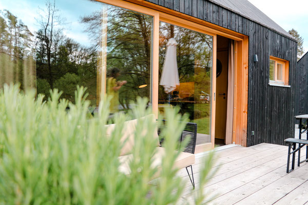 Moderne Hütte am Schwarzen Regen im Bayerischen Wald
