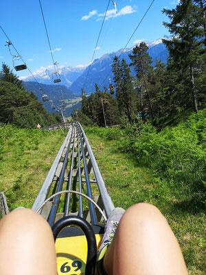 Längste Rodelbahn der Welt Alpine Coaster in Imst