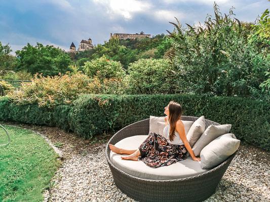 Aussicht im Garten bei LaPura Women´s Health Resort