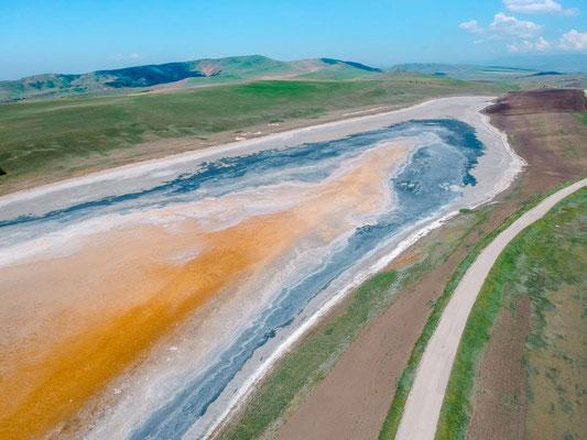 Ausgetrockneter Salzsee Halbwüste Garedscha