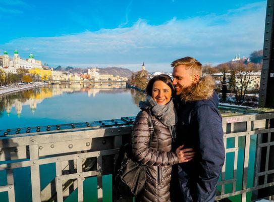 Ausblick vom Fünfersteg auf Passau
