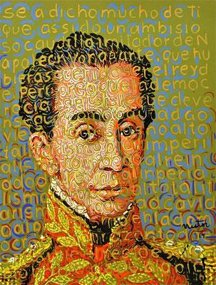 """Simon Bolivar"", 2014, Acrylic on paper, 20 x 25 inches"
