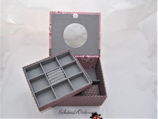 Schatulle für Mädchen und Frauen mit Schmuckfächern und Spiegel