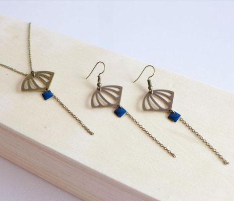 Boucles d'oreilles Art Déco Bleu Marine