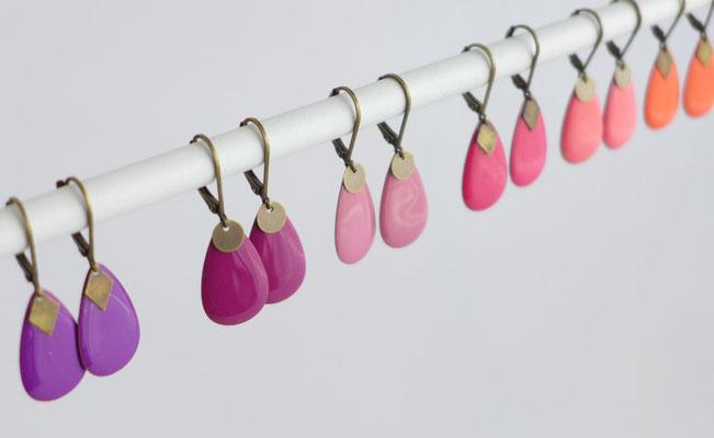 Collection de boucles d'oreilles dormeuses et émail couleur  | Une Embellie