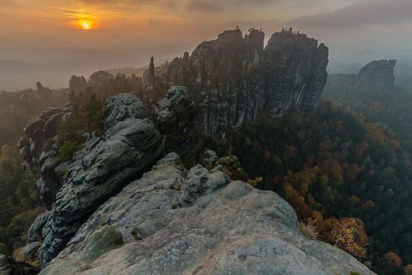 Sonnenuntergang an den Schrammsteinen