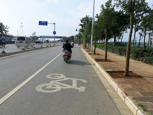 In den chinesischen Metropolen gibts immer so ganz tolle Radstreifen!