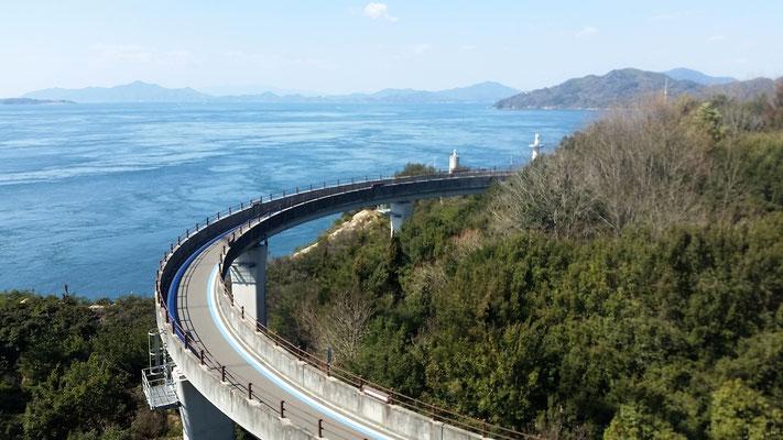 Die Veloauffahrt zur letzten, und mit 4km längsten Brücke