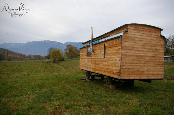 """11/2009 - Déplacement de la roulotte à son emplacement """"définitif"""" dans le jardin avec l'aide d'Alain et de son tracteur."""