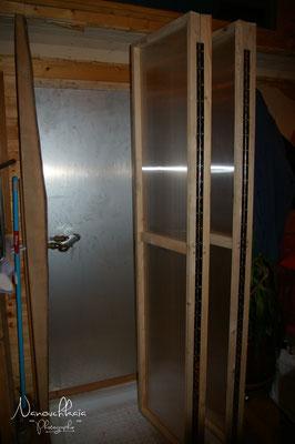 02/2011 - Création d'une cabine de douche escamotable. Position ouverte.