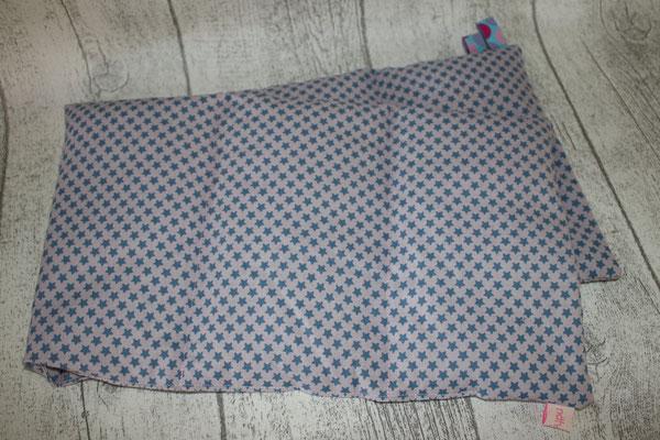 Design/Farbe: Sternchen blau auf rose - Webband: Punkte türkis/rosa