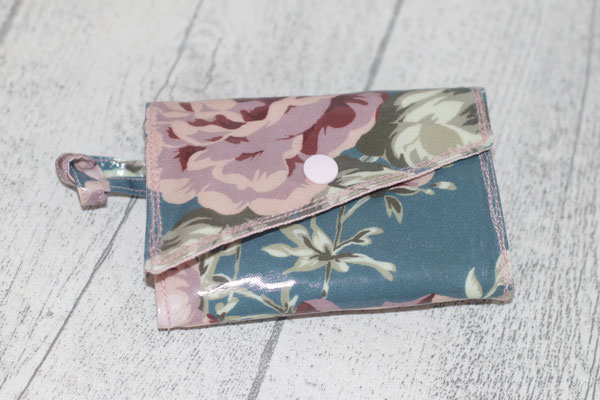 kleiner Geldbeutel Design: Sophia dusty blue & besch. Leinen in powder rose