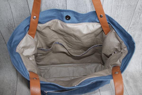 Inneneinblick zur Tasche: besch. Baumwolle in schlamm mit seitlichen Einstecktaschen