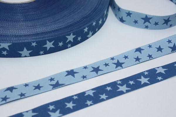 STERNE jeansblau / hellblau - beidseitig verwendbar !!! - Design: not4angels 2009 - 12 mm breit - EUR 2,50/m