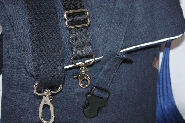 ... auch andere Bänder sind möglich :) Baumwoll-Gurtband in dunkelblau, schwarzes Sicherheitsgurtband ... TRÄGER IST AUSWECHSELBAR .. siehe Beschreibung .)