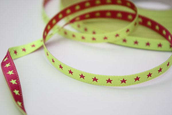 STERNchen neongelb/pink - beidseitig verwendbar !! - Design: Farbenmix 2012 - 7 mm breit - EUR 1,20/m