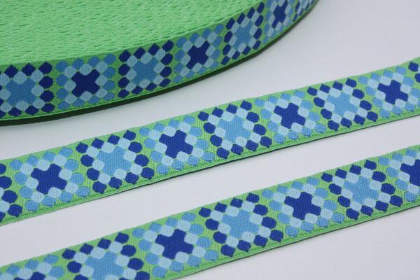 Mosaik grün - Mosaik in blautönen - Design: Franca Tack - 15 mm breit - EUR 2,90/m