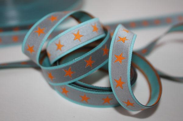 Sterneband - grau/orange - Design: Farbenmix - 12 mm breit - EUR 1,30/m