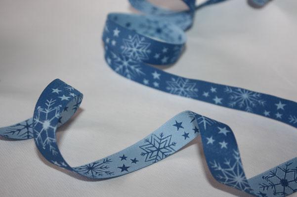 Schneekristalle - winterblau - Design: Blaubeerstern - EUR 1,80/m