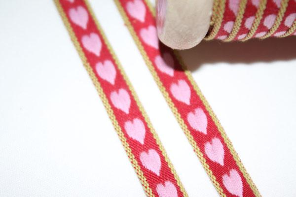 Aspegren - Herzen rot / rosa - 10 mm breit - 20% Polyester & 80% Baumwolle - EUR 1,30/m