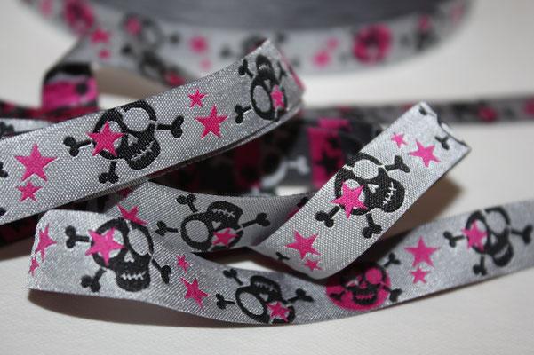 Scull - schwarz / pink - grau - Design: Janeas World - 15 mm breit - EUR 1,80/m