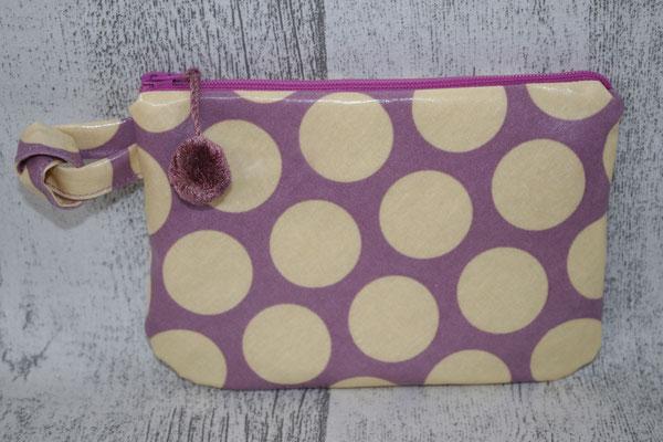 Täschchen - Design: Super dots lavender / gelb mit BOMMEL :)