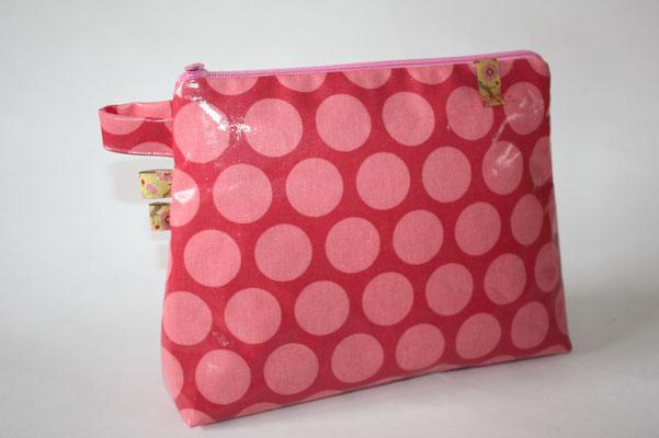 besch. Baumwolle - Super dots  - raspberry / peachy pink  NOCH ZU HABEN