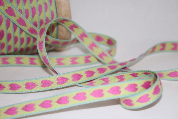Aspegren - Herzen pink / grün - 10 mm breit - 20% Polyester & 80% Baumwolle - EUR 1,30/m
