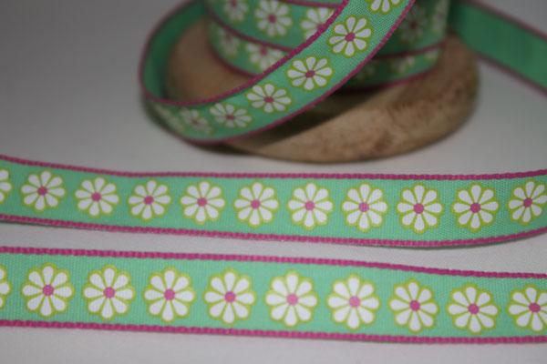 Aspegren - Lucy Flower - Blümchen grüngrundig - 10 mm breit - 20% Polyester & 80% Baumwolle - EUR 1,30/m