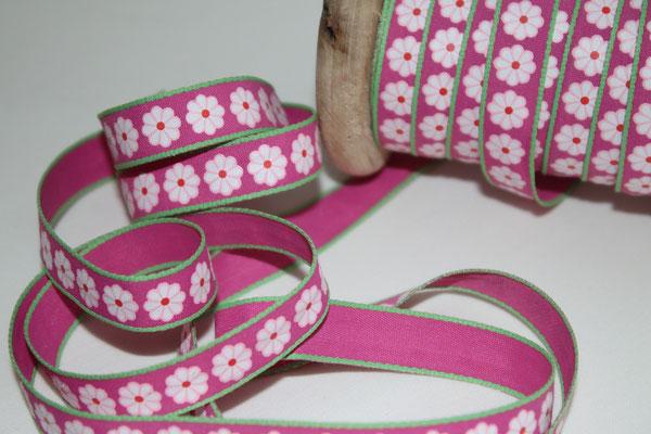 Aspegren - Lucy Flower / Blümchen pink - 10 mm breit - 20% Polyester & 80% Baumwolle - EUR 1,30/m