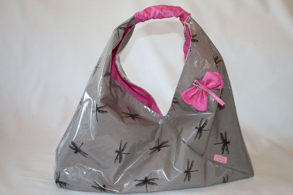 NOCH ZU HABEN Origami-Bag aus besch. Baumwolle Dragonfly grey - Maße: ca 22 cm hoch (mittig) - hängend bis Henkel ca. 45 cm hoch x 45 cm breit x 10 cm tief -39