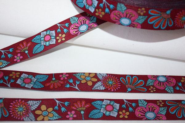 Amore  MIO - Blumen - rubin / dunkelrot  - HHL - 18 mm breit - EUR 2,20/m
