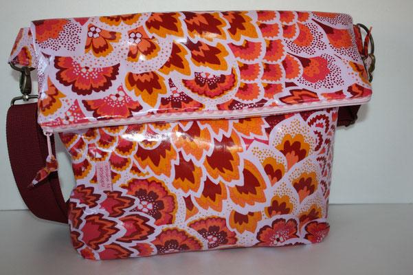 Umschlagtasche aus besch. Baumwolle von Amy Butler - Pfauenfeder - ROSA 65