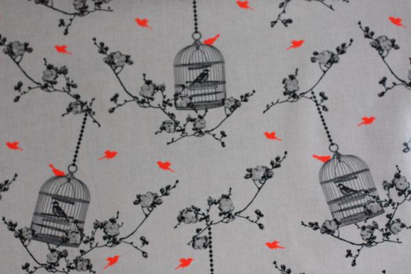 besch. Baumwolle Au Maison - Birdcage - charcoal / coral neon - Vogelkäfige + Blumenranken in charcoal (= holzkohle = grauschwarz) mit neonpinkfarbenen Vögel auf weißem Grund .. z. Zt. nicht als Meterware verfügbar