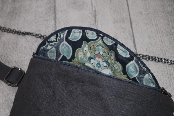 Innen mit besch. Baumwolle Ornamnete in anthrazit/grau ausgekleidet