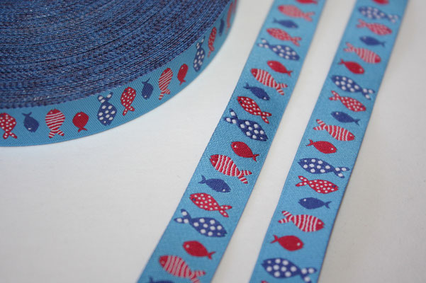 Kleine Fische - längsdesign - blau / rot  - Design: blaubeerstern/Steffi Mitzscherling - 15 mm breit - EUR 1,80