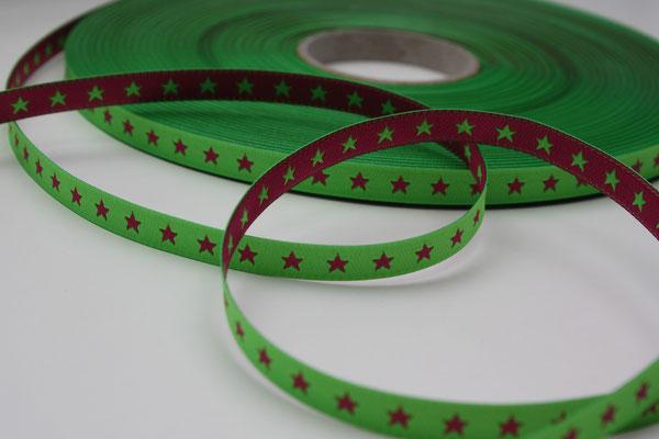 STERNchen neongrün/pink - beidseitig verwendbar !! - Design: Farbenmix 2012 - 7 mm breit - EUR 1,20/m