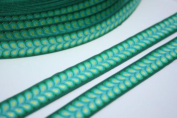 Blätterband - grün - Muster in den Farben türkis + grün - 15 mm - Design: Franca Tack - EUR 2,90/m