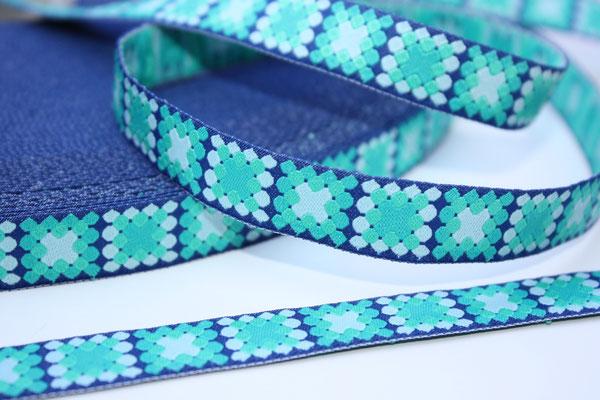 Mosaik blau - Mosaik in türkis/grün-Tönen - Design: Franca Tack - 15 mm breit - EUR 2,90/m