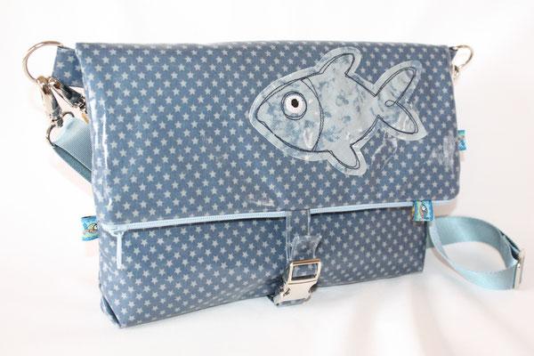 besch. Baumwolle Au Maison - Sternchen denim blue/dusty blue mit Fischapplikation